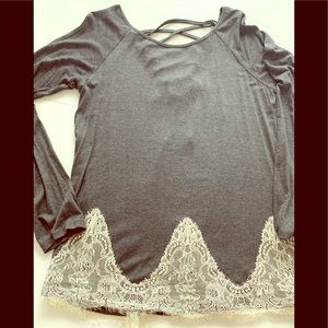 Altar'd State NWOT gray shirt with lace up back
